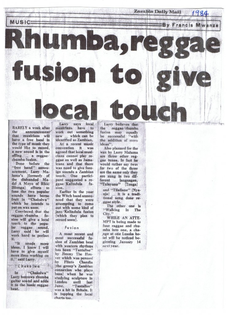 Rhumba, reggae fusion to give local touch. Zambia Daily Mail 1984