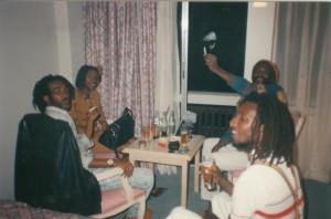 In Larry Maluma's room at Pamodzi Hotel in Lusaka, Zambia.